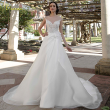 Loverxu Wedding Dress Cap Sleeve Bride Dress Court Train
