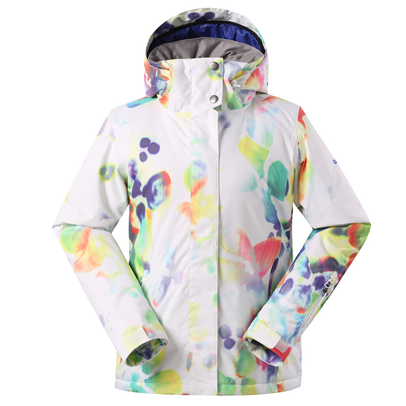 Gsou snow ski jacket Women winter outdoor skiwear coat waterproof breathable snowboarding jackets flower printing ski clothing brand gsou snow technology fabrics women ski suit snowboarding ski jacket women skiing jacket suit jaquetas feminina girls ski