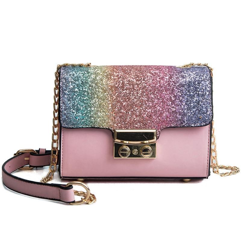 Gradient Rainbow Shiny Women Handbag Paillette Bling Bling Female Glitter  Sequined Messenger Bag Popular Party Lady Leather Flap 87bf4f798ebe