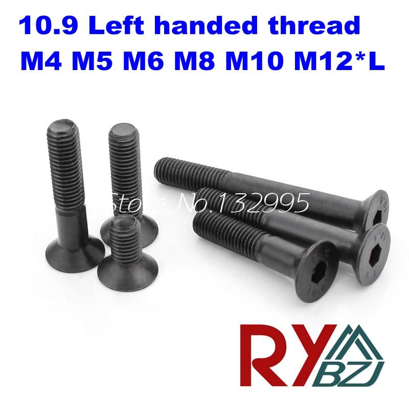 10pcs/lot  M4 M5 M6 M8 M10 M12*L Left handed thread screws  DIN7991  Alloy steel Hex socket flat head screw Grade 10.9 настенный бордюр tubadzyn l steel 6 1 5x59 8