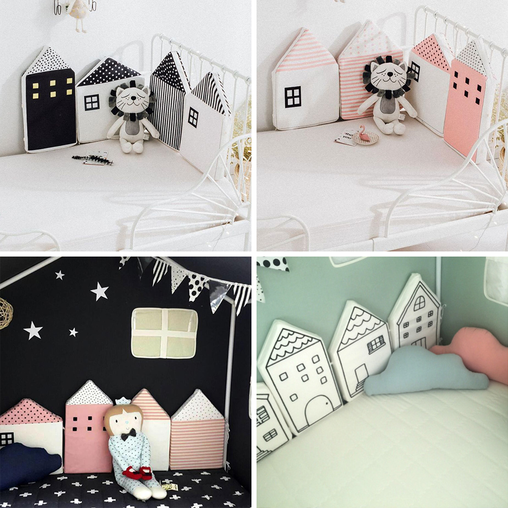 4Pcs Baby Bed Bumper House Pattern Baby Crib Protector Crotch To The Cot Infant Cotton Cradle Guard Bumpers Baby Room Decoration