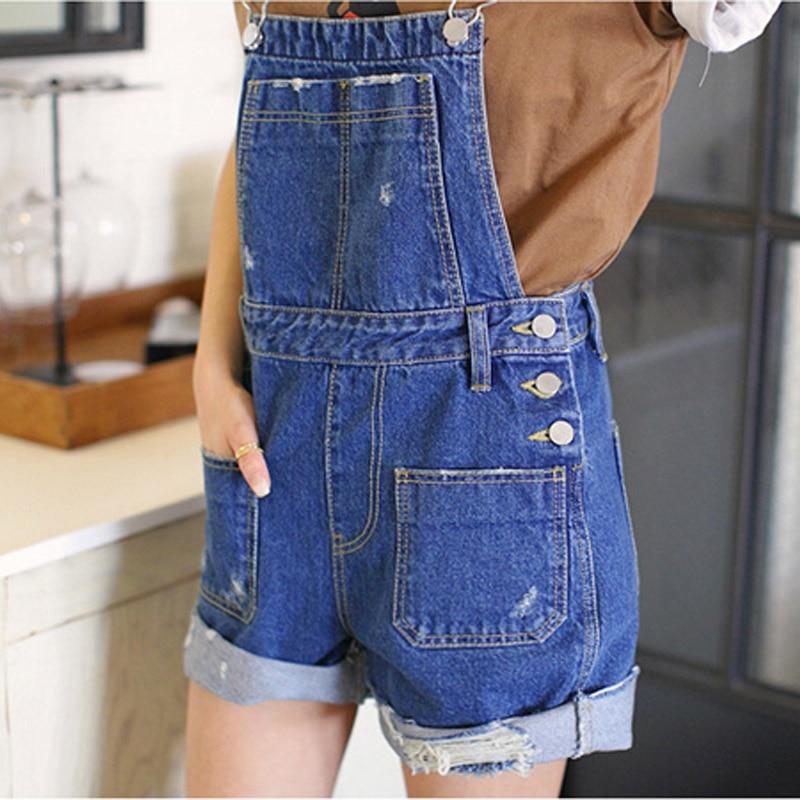 Women Denim Distresses Style Casual Jumpsuit Front Flap Pocket Short Overalls Girl Washed Jeans Jumpsuit Romper