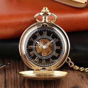 Image 2 - Gouden Spiegel Ontwerp Volledige Hunter Mechanische Hand Winding Zakhorloge Romeinse Cijfers Dial Luxe Retro Souvenir Klok Geschenken