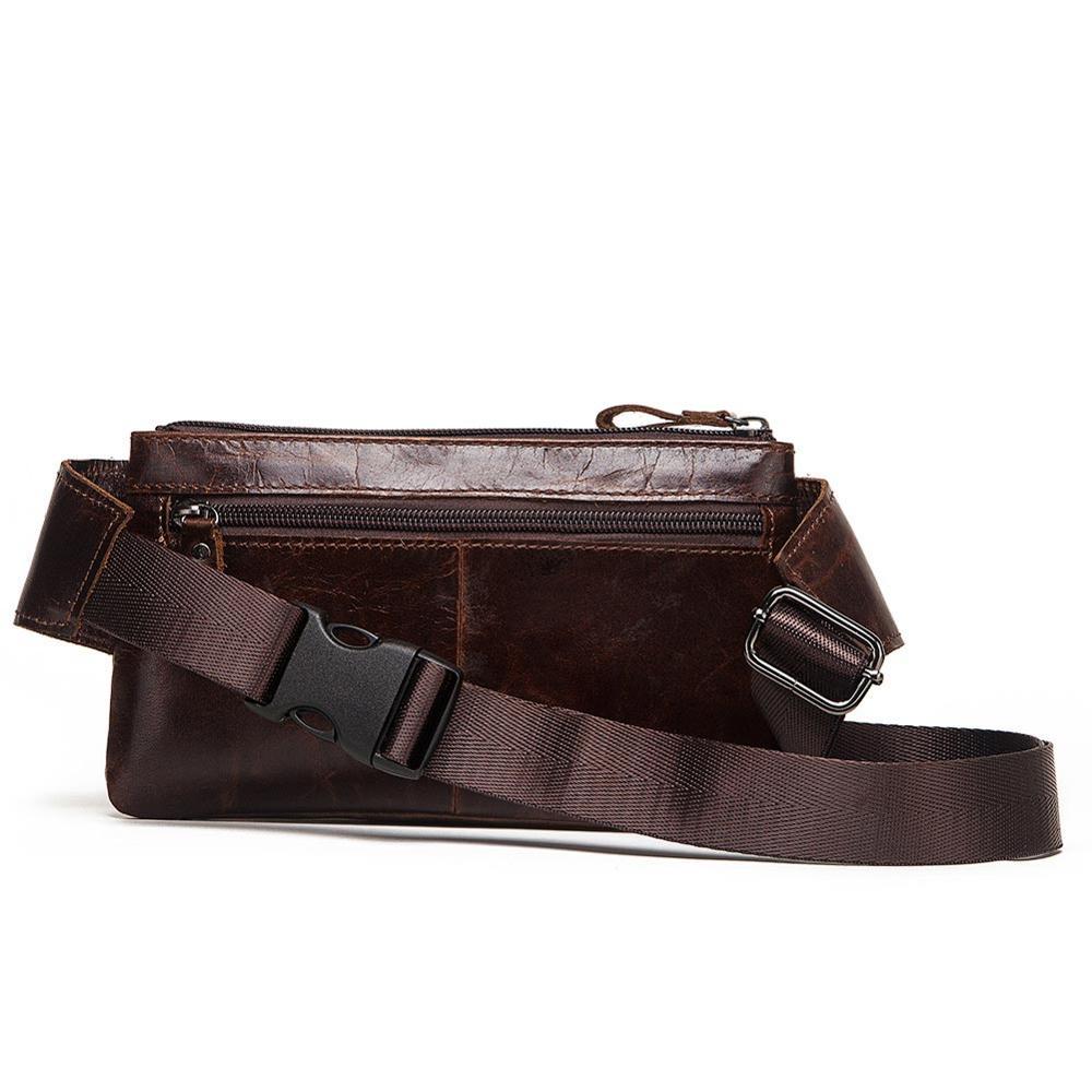 Image 3 - KAVIS Vintage 100% Cowhide Genuine Leather Men Waist Bag Male Packs Belt Loops Chest Bag Mobile Phone Holder Pouch Male PurseWaist Packs   -
