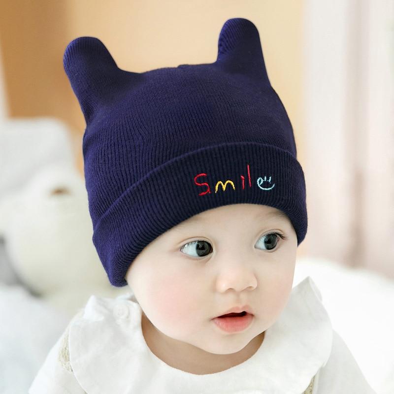 Cieik Baby Winter Knitted Hats Letter Woolen Cap Cute Ear Smile Newborn Photography Props Warm Beanie for Girls Boys Crochet