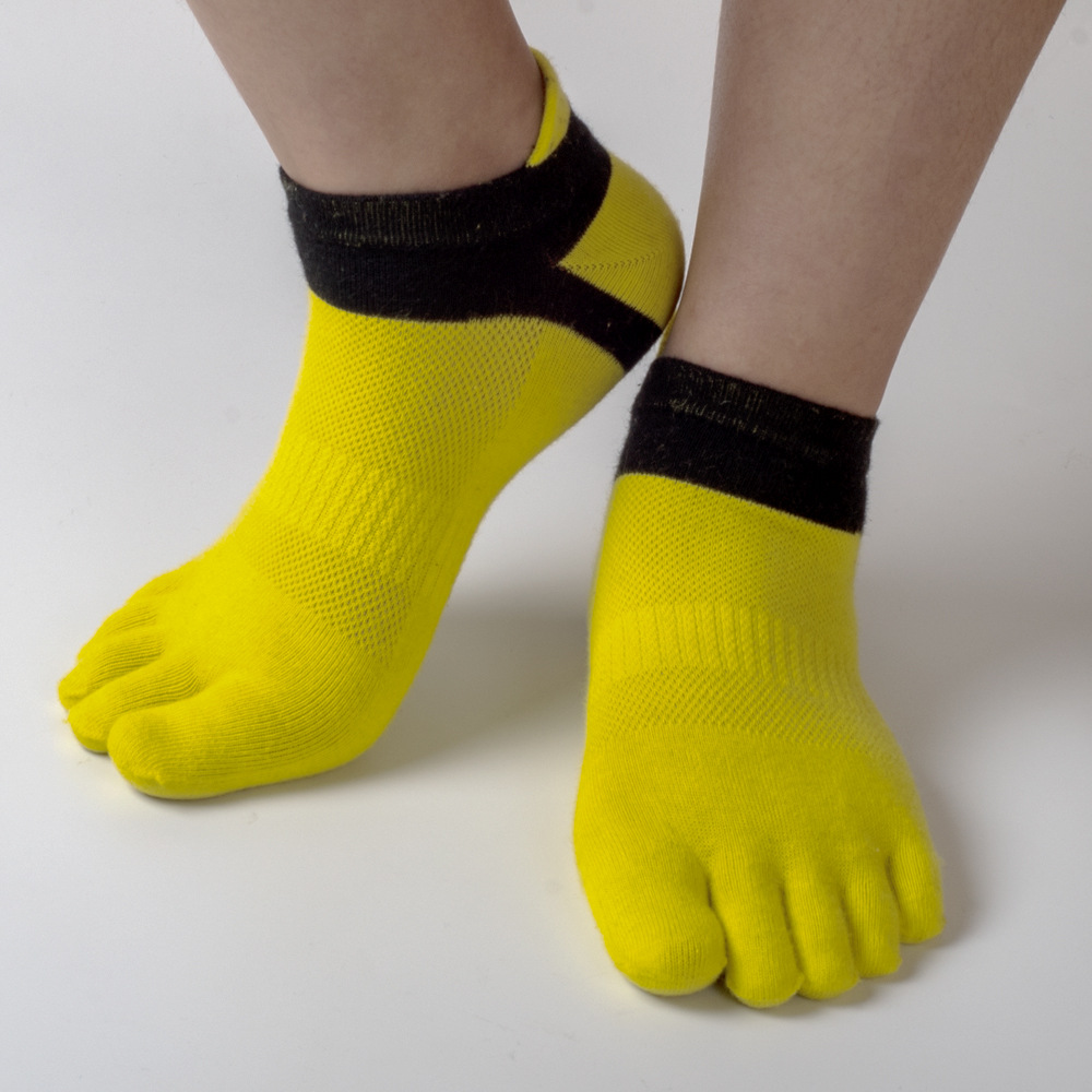 3 Pairs Men Socks Fashion Casual Five Toes Cotton Mesh Breathable Solid Color Pure Soft Comfortable Socks