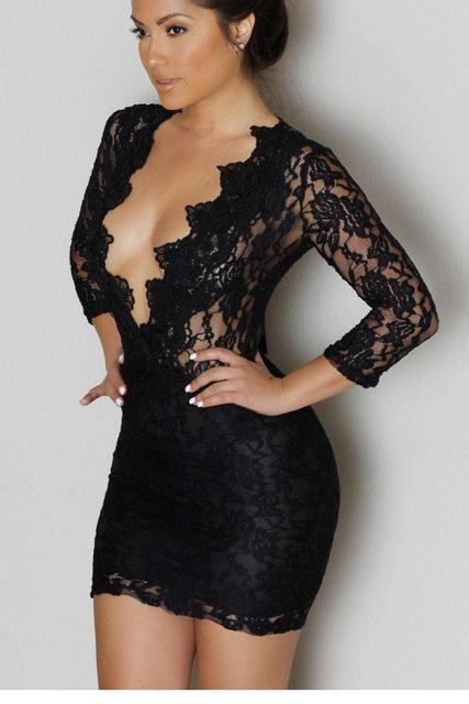 0abeb664928 Vestidos Mujer Black Lace V-neck Long Sleeve Womens Sexy Short Dresses  Party Night Club Mini Dress 2017 Woman Clothes LC22108
