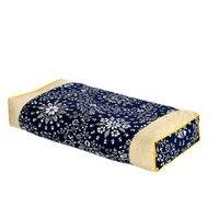 Boyun yastık koyu mavi çiçek yastık karabuğday oreiller almohada uyku boyun yastık yetişkin masajı servikal sağlık 48*22 cm