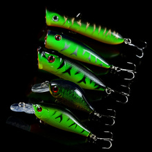 5pcs/Set Mixed 5 Models Fishing Lures Artificial Make Lifelike Bass CrankBait Bait Mix Minnow/Crank Lure ang Popper Tackle