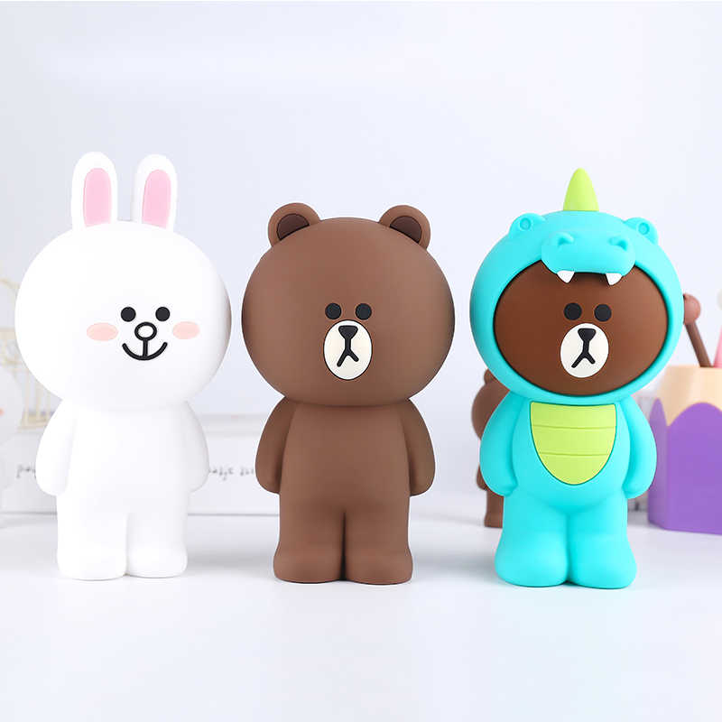 Cute Cartoon Brown Bear Pencil Bag Case Silicone Stationery Pen Storage Bag Box Office School Supply Desk Decor Zipper Bag Gifts