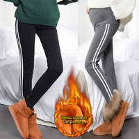 Maternity legging femme enceinte 4XL high elastic Cotton velvet trousers for pregnant women White line pants pregnancy clothes