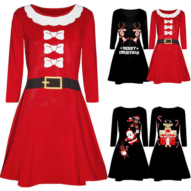 Merry Christmas Autumn womans Santa Skater Deer Floral Print Ladies Snowman Swing Dress Plus Size New Arrivals