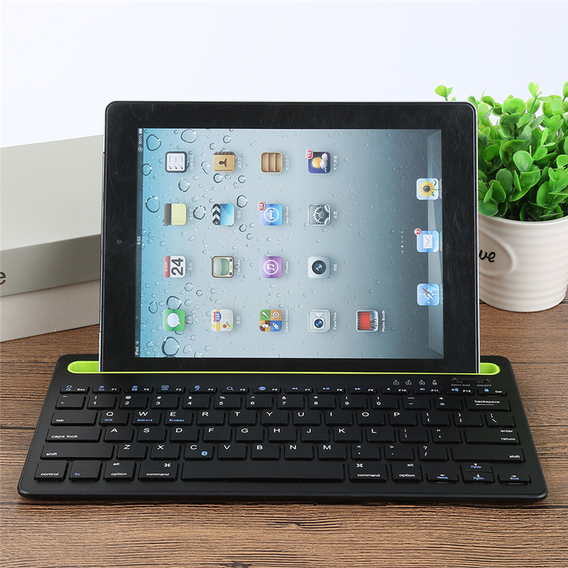 Ultra Slim Wireless Bluetooth Keyboard Plastic Long Lifespan High Performance for IOS ANDROID WINDOWS Support Bracket