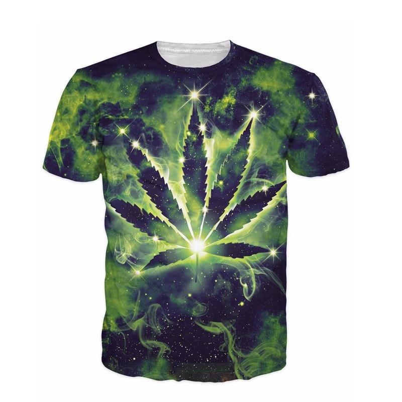 97da885e8 Raisevern Camisa Nova T 3D Constelação T Shirt Folha De Maconha Erva ...