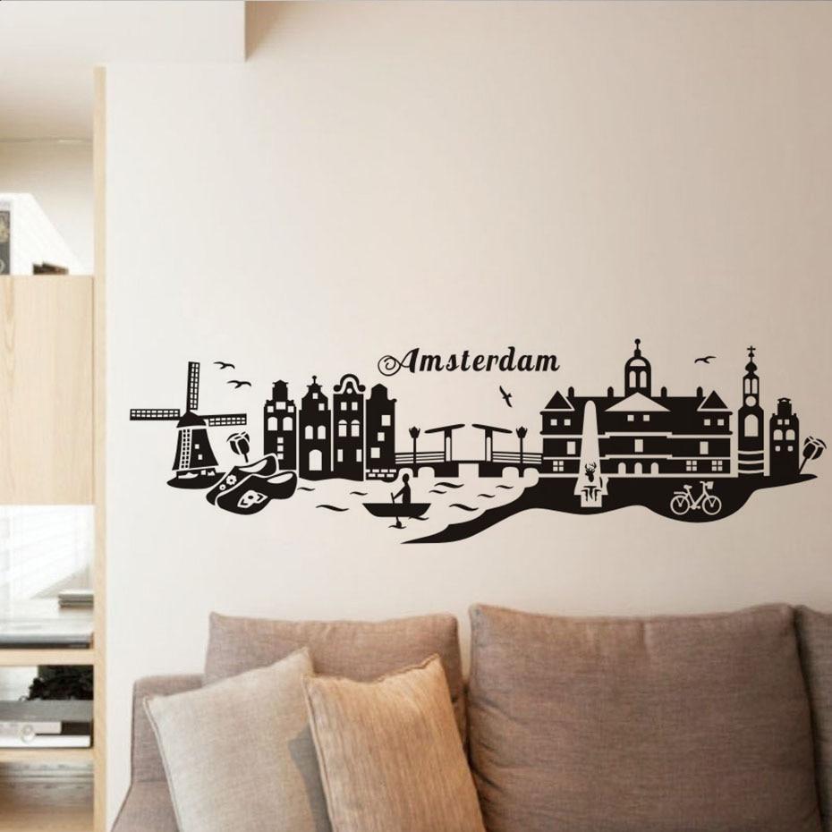Kota amsterdam terkenal landmark wall sticker seluruh pemandangan waterproof art vinyl decal bar cafe ruang tamu rumah dekorasi di wall stickers dari rumah