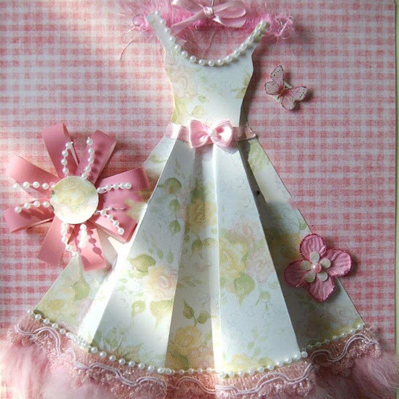 Подписания, мастер класс как сделать открытку с платьем