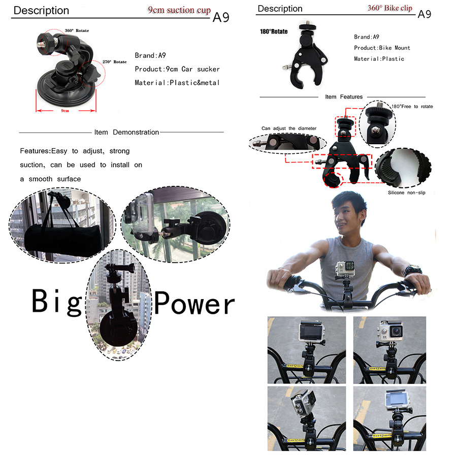 Dodatna oprema za akcijske kamere A9 za akumulator Gopro 5 4 3 za - Kamera in foto - Fotografija 2