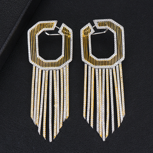 Image 5 - GODKI 58MM Luxury Long Tassels African Dangle Earrings For Women Wedding Cubic Zircon Crystal CZ Dubai Indian Bridal Earrings