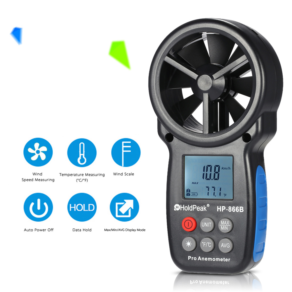 HoldPeak HP-866B Mini LCD Digital Anemometer thermometer anemometro Wind Speed Air Velocity Temperature Measuring with Backlight center 307 temperature thermometer with digital mini compact size