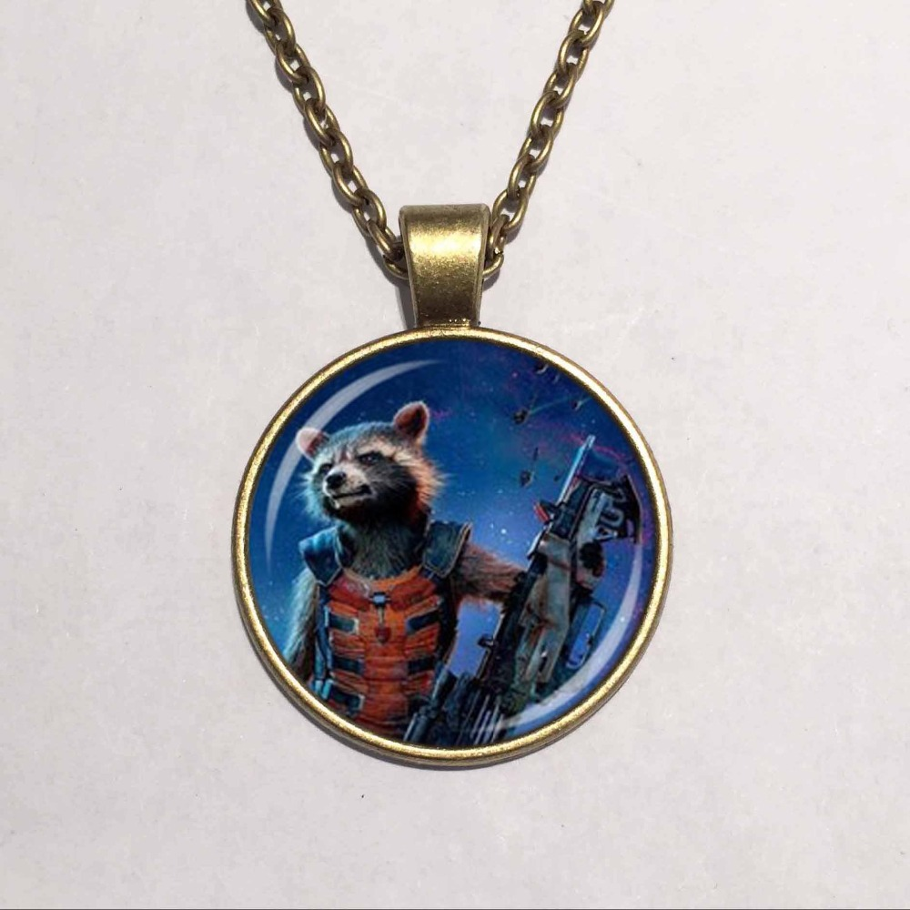 Wholesale Glass Dome Guardians of the Galaxy necklace Rocket raccoon pendant Cartoon jewelry