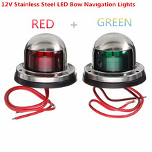 цена на 1Pair Boat Light 12V Stainless Steel Red Green Bow led Navigation Indicator Spot Light Marine Boat Yacht Warning Signal Light