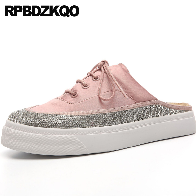 sneakers sandals creepers satin ladies beautiful flats shoes crystal slippers platform diamond luxury pink women muffin mules