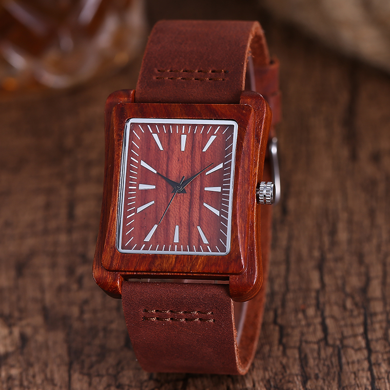 6 Wood Material Wrist Quartz Watch Red Brown Walnut Rose Wooden Men Women Watches Fashion Accessories Ladies Mens Womens Gift