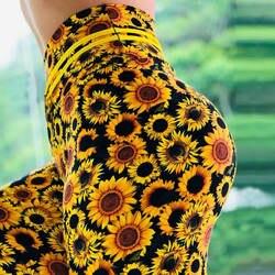 Для женщин с принтом в виде подсолнухов Леггинсы пуш-ап Эластичный тренировки время приключений Фитнес леггинсы Высокая Талия штаны для