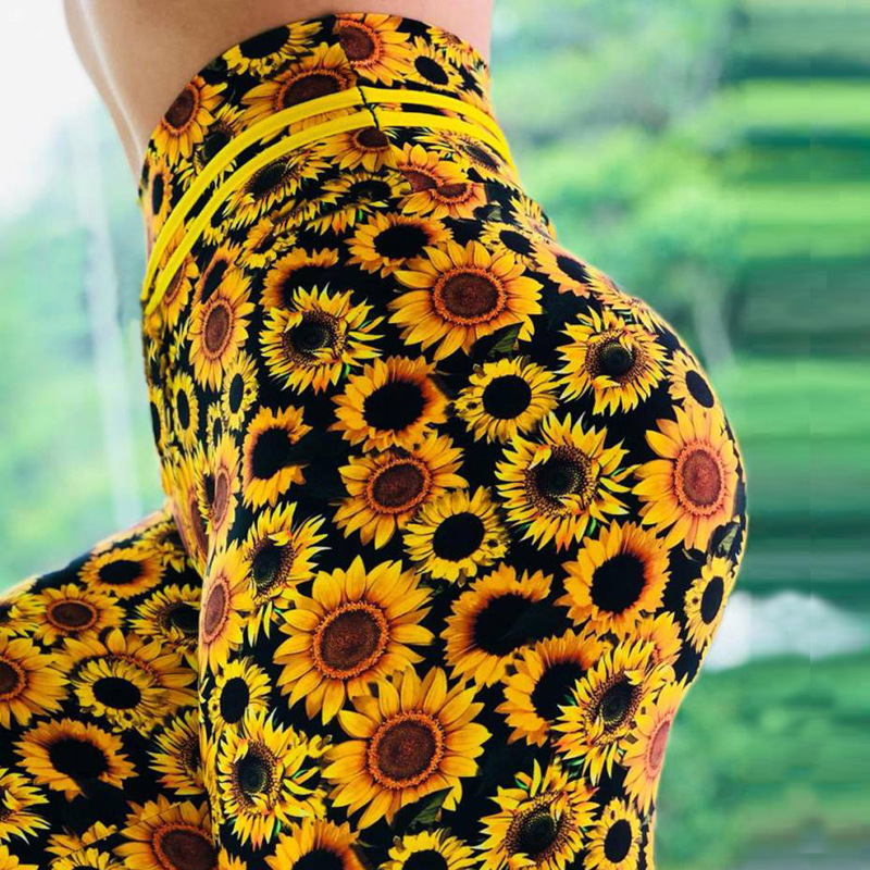 Women sunflower Print   Leggings   Push Up Elastic Workout Adventure Time Fitness   leggings   High Waist Bodybuilding Pants