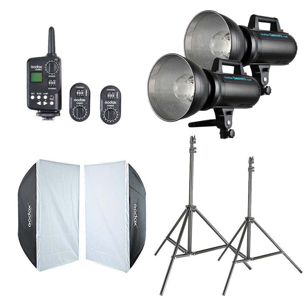 Photo studio kit 2x Godox GS200 Studio Flash + 60x90cm Softbox + FT-16 Trigger + Light Stand Kit 2pcs godox sl100y 3300k video continuous light 60x90cm softbox light stand photo studio equipment kit yellow version