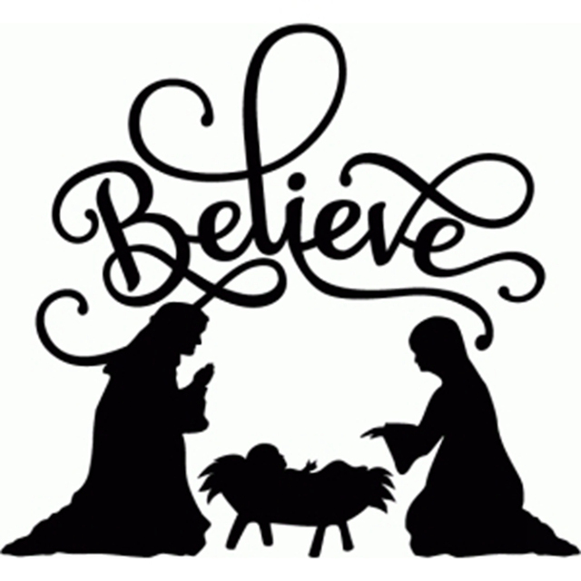 "believe nativity flourish "" vinyl christmas decal sticker for glass"