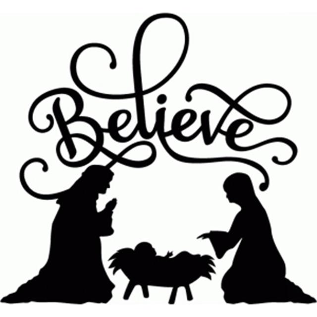 "believe nativity flourish "" vinyl christmas decal sticker for glass"