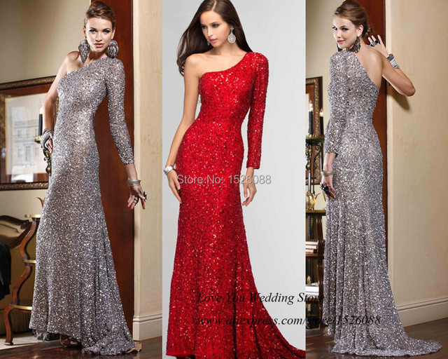 Sparky Elegant Long Sleeve Evening Dresses Sequined Silver Red Mermaid Prom  Dress 2015 Women Formal Gowns Vestidos de Gala facd458c2a44