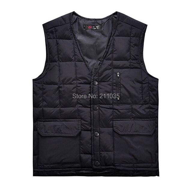 Hot Sale Male autumn winter plus size down vest men thermal male multi-pocke tdown waistcoat