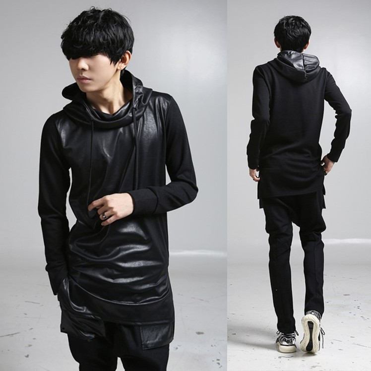 Men Long Sleeve Hooded T shirt Leather Splice Punk Tshirt Men ...