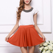 Womens mini Skirt summer fashion Pure Color High Waist Lolita Style Pleated