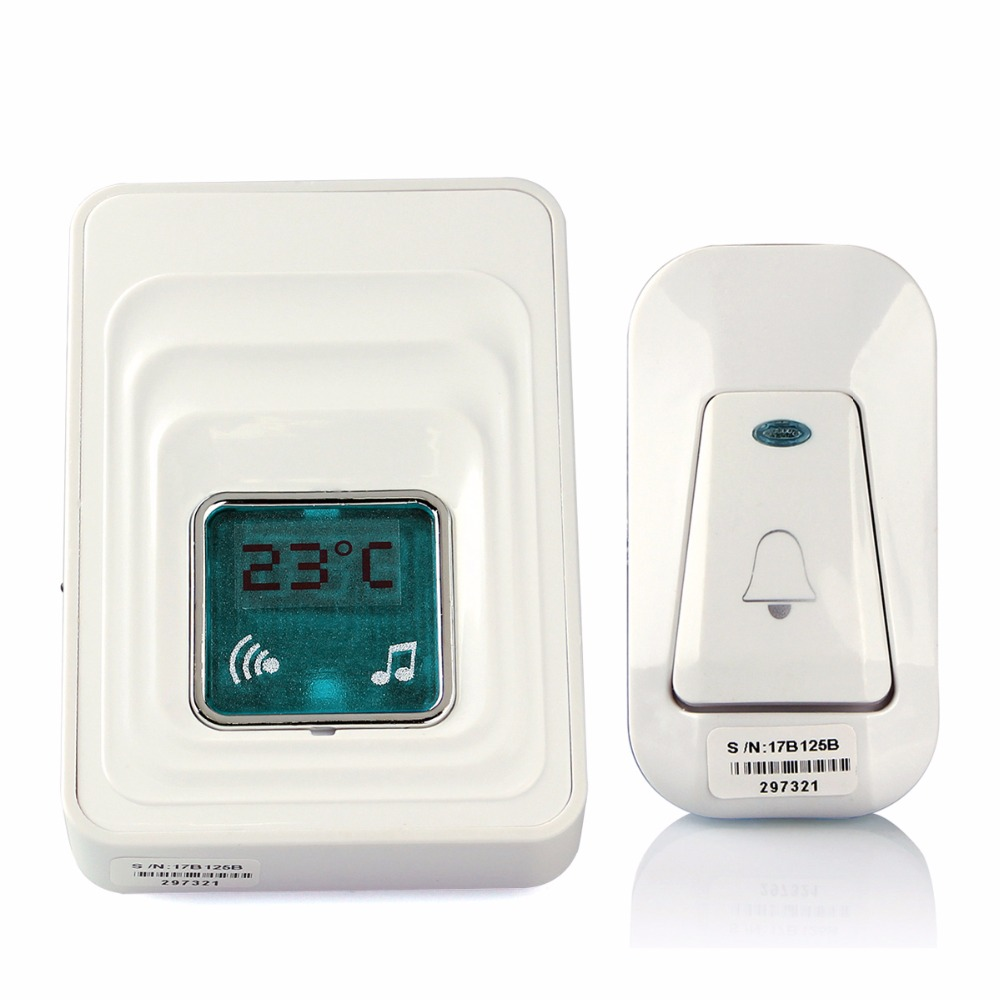 For Home Security Wireless Digital Door Chime 51 Melody Ac/dc Wireless Door Bell Waterproof with Temperature Display F1760B wireless home security door bell call button access control with 1pcs transmitter launcher 1pcs receiver waterproof f3310b