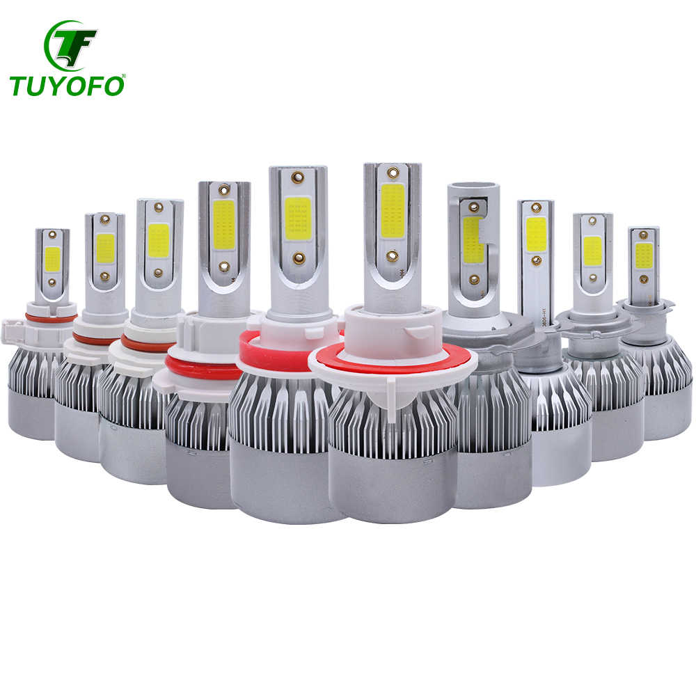 Tuyofo C6 H8 LED HB3 HB4 H16 9005 9006 HIR2 H13 H1 H3 H7 H9 5202 COB Car Headlight Bulbs Fog lamp auto light