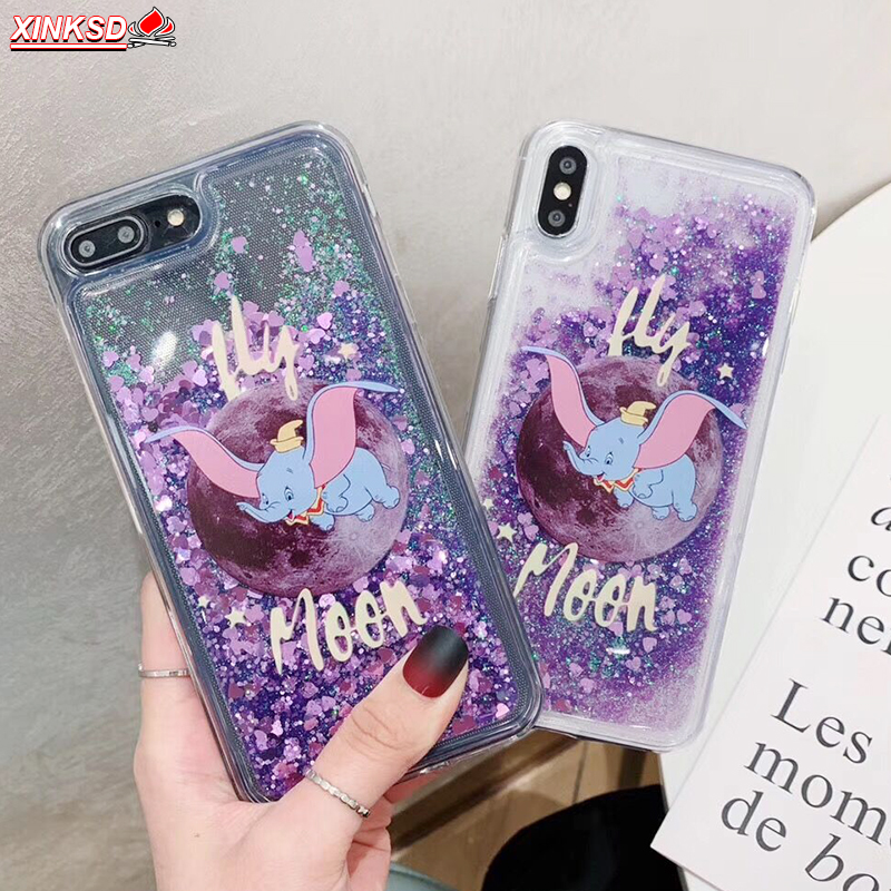 Cartoon Dumbo Elephant Liquid Cover for Redmi Note 7 Pro 6 5 5A 4A 4X S2 5 plus Case for Xiaomi Mi 9 SE 8 A1 A2 Lite 6X F1 Case