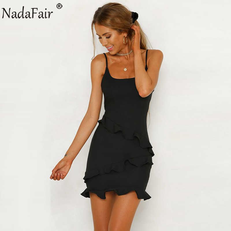 9a3870141ed ... Nadafair новое летнее платье на бретелях с оборками Мини женское  красное черное белое элегантное тонкое платье ...