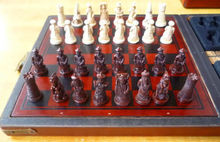 Chinese wood Leather box with 32 pieces Chess Set