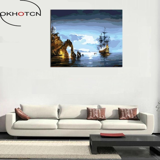 OKHOTCN Framed Scenery Oil Painting Drawing By Numbers DIY Hand ...
