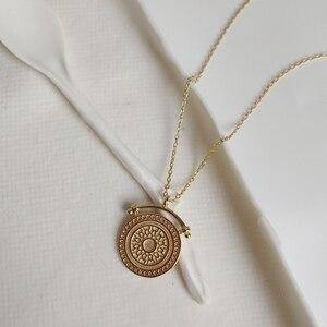 Image 2 - LouLeur 925 srebro okrągłe żyły naszyjnik złoty elegancki wzór nowy modny tekstury naszyjnik dla kobiet biżuteria