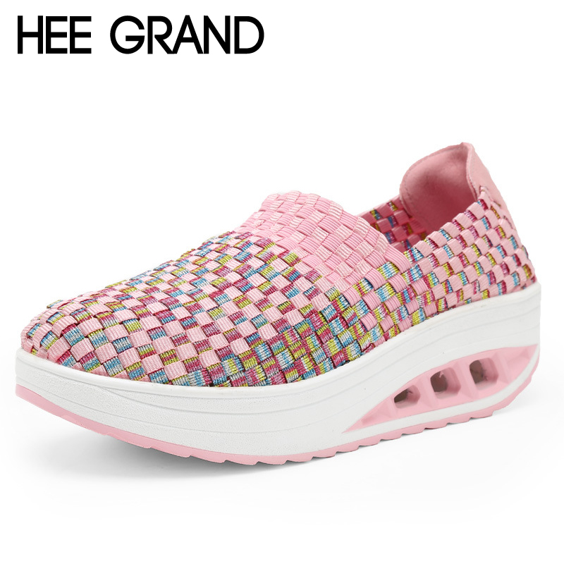 HEE GRAND Platform Shoes Woman 2017 Loafers Weave Flats Candy Colors Creepers Comfort Slip On Casual Women Shoes XWC1113 phyanic 2017 gladiator sandals gold silver shoes woman summer platform wedges glitters creepers casual women shoes phy3323