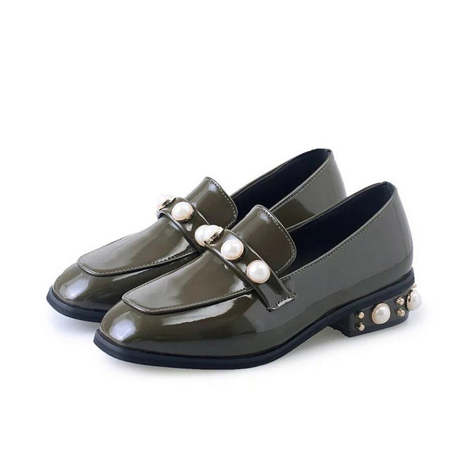 Autumn Ladies Shoes Winter 2017 Flat Winter Shoes Square Heels Pearl Heels Women Shoes Slip on Casual Shoes Women Black Green
