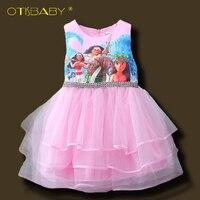 新しい夏ファンシー女の子moana漫画プリンセスドレス用キッズ女の子ティアードドレス服子供ピンクドレス服ボールガウ