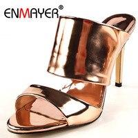 ENMAYER Fashion Summer Women Sandals Stilleto Slip On Open Toe Extreme High Heels Slingback Luxury Gold