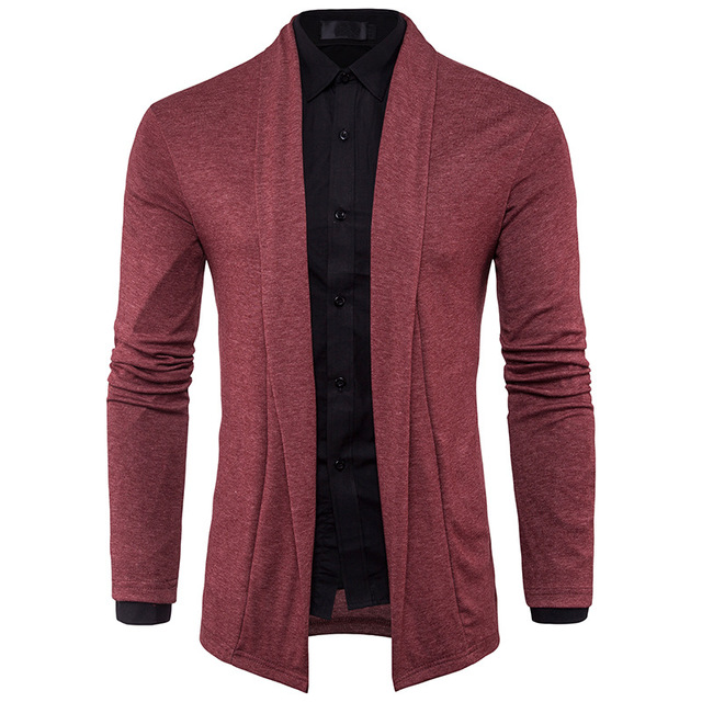 Men's Sweater 2017 Winter New Male Brand Casual Jersey Long Mens Cardigan Solid Slim Fit Red XXL Homme Sweaters Men Knitwear Y22