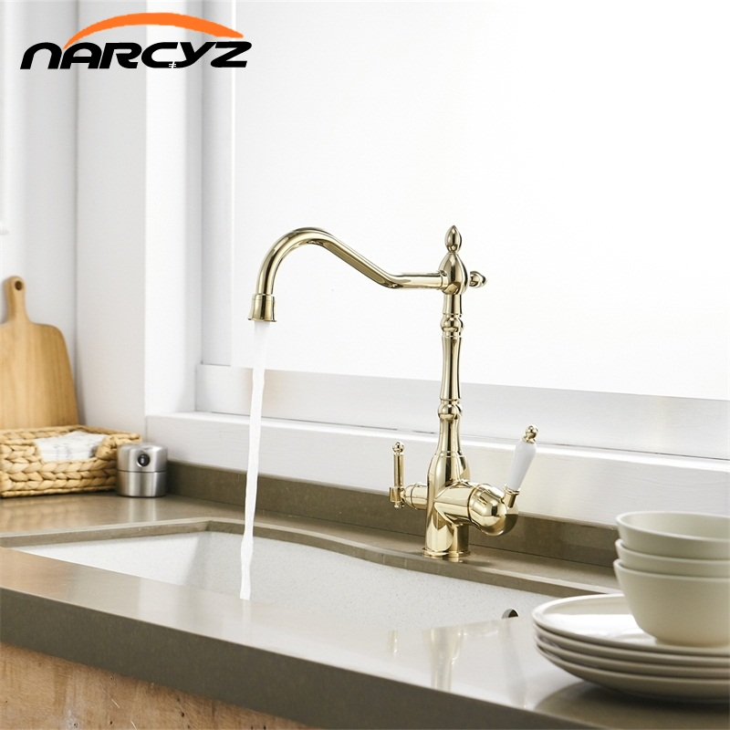 kitchen faucet Torneira Cozinha Gold Faucets 360 Degree Rotation Three Way Tap for Water Purification Crane For Kitchen XT-165kitchen faucet Torneira Cozinha Gold Faucets 360 Degree Rotation Three Way Tap for Water Purification Crane For Kitchen XT-165