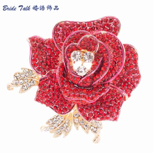 Rhinestone Brooches Crystals Rose Brooch Leaves Flower Broches Broach Hat Pin for Scarf Women Jewelry Accessories FB1077